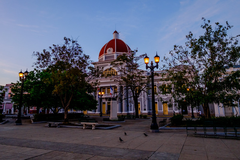 Sunrise at Parque José Martí in Cienfuegos.