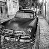"Classic car with ""ghost"" in Old Havana."