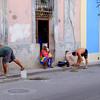 Sidewalk and pothole repair in Old Havana.