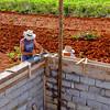 Building a block wall at Casa el Porry in Viñales.