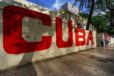 Red CUBA sidewalk