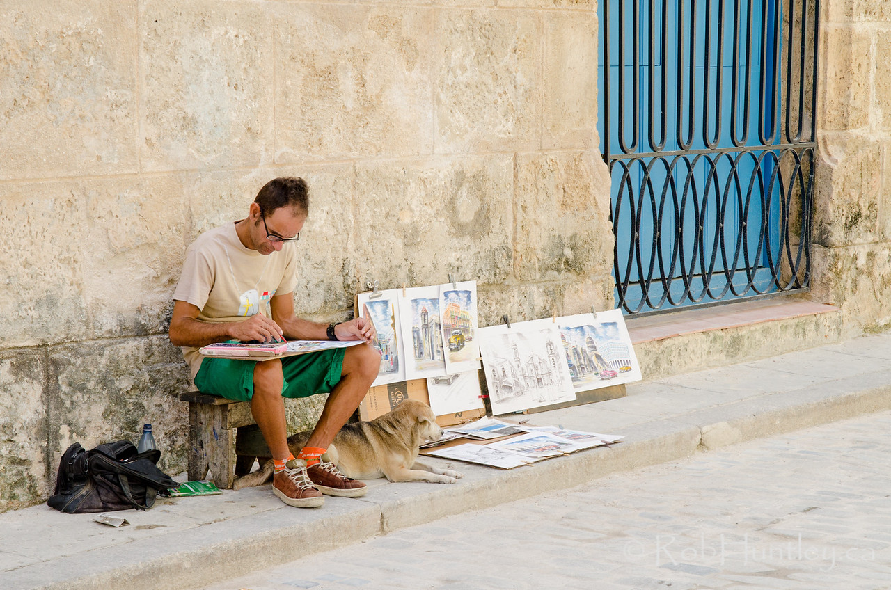 Street Artist and His Dog