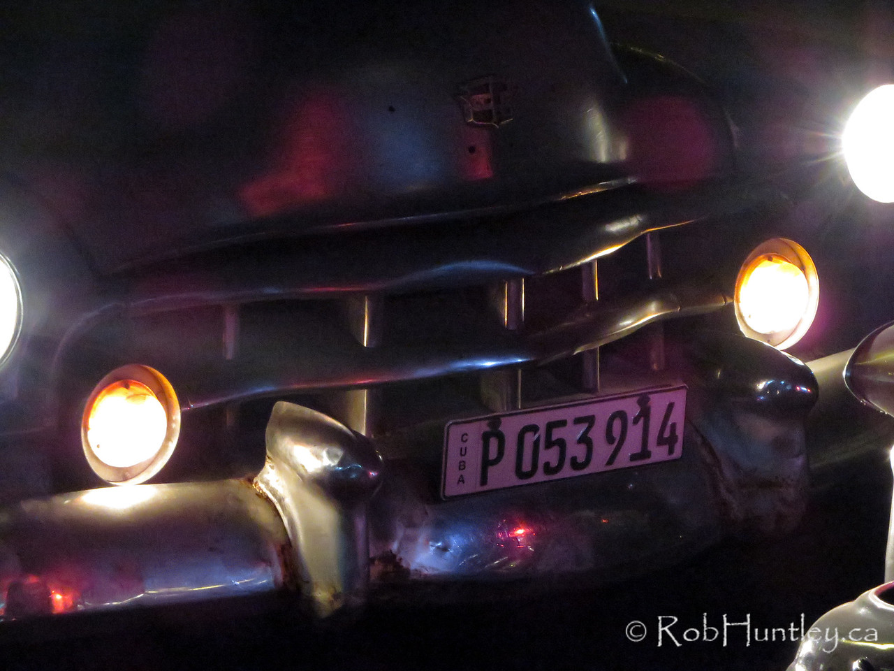 Old car at night.