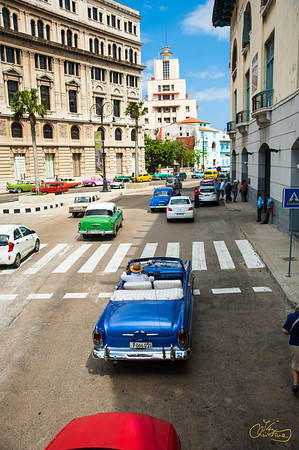 Classic old blue convertible in Old Havana