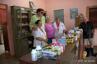 Bill Bachman and Becky Riley with donations for the clinic in Isabel, Cuba - April 8,2016