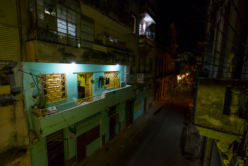 The view from the balcony of our casa in Old Havana the night we arrived.
