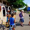 Buying ice cream bars from a street vendor in Fusterlandia.