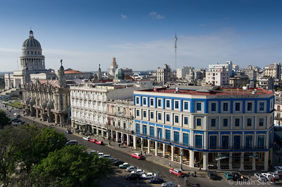 """Looking from the rooftop or our hotel, one can see the """"Capitolio Nacional"""" with its magnificent dome.  Next is the """"Teatro de La Habana"""" which like many buildings in Havana is in a state of disrepair although not as bad as many and is still in use. The other buildings are recently updated hotels."""