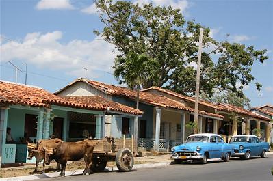 Buicks, ossen, verandas en schommelstoelen in het straatbeeld van Vinales. Cuba.