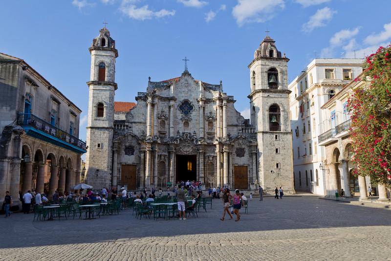 An old Havana Cathedral under blue sky, cuban landmark