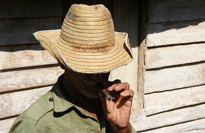 Handrolled cigar. Valle de Vinales, Cuba.