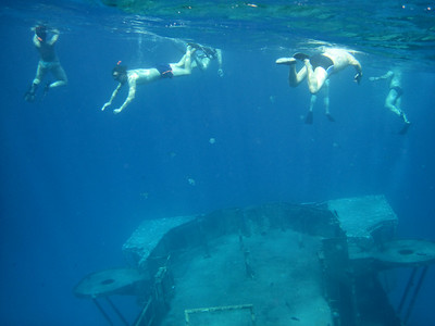 Snorkeling over a sunken US torpedo boat, Cayman Islands.