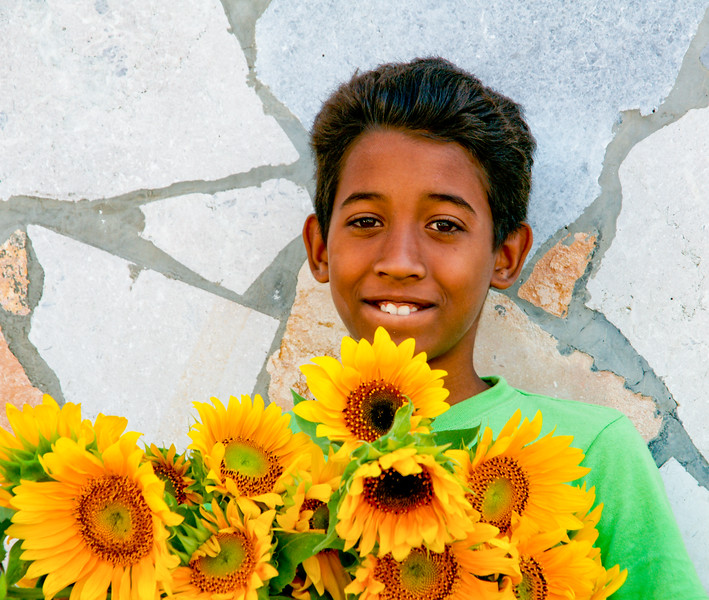 Boy with Yellow Flowers