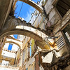 Ruin interior of a dilapidated former historic building in Havana, Cuba