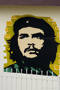 Che Guevera was an Argentinian Marxist revolutionary and a major figure of the Cuban Revolution.  Since his death in 1967, Guevara's stylized visage has become a countercultural symbol.  You see his image everywhere in Cuba.