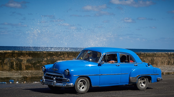 American old-timer on the Malecón in Havana.
