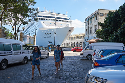 Cruise ship moored off in Havana.
