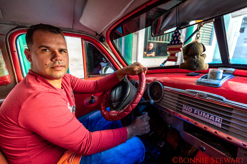 Inside a vintage car - one of the group drivers