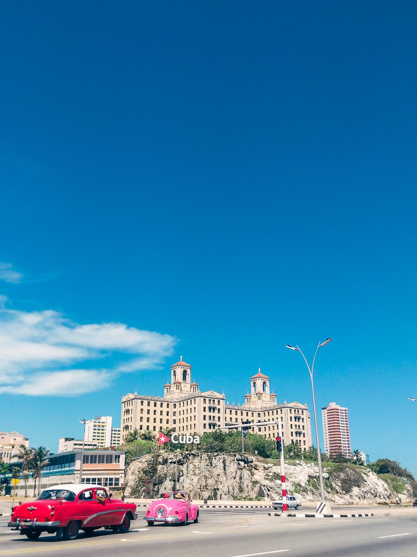View of Hotel Nacional in Havana Cuba from the malecon seawall.