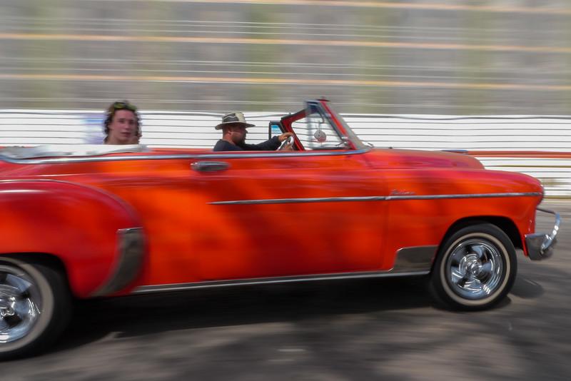 50's car in motion, Havana, Cuba, June 11, 2016.