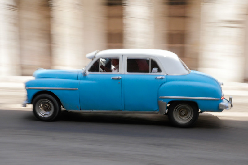 50's car in motion,  Havana, Cuba