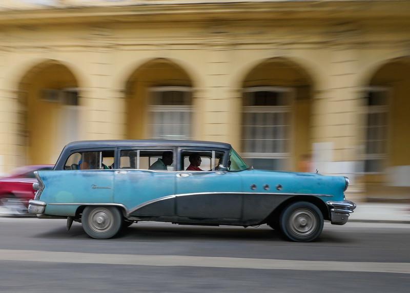 50's station wagon in motion, Havana, Cuba, June 11, 2016.
