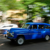 50's car in motion,  Havana, Cuba