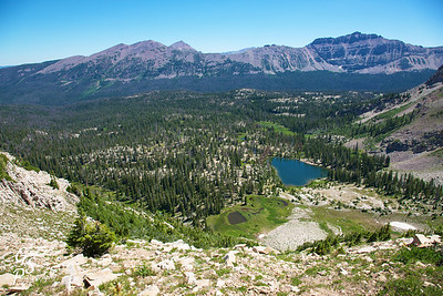 At the ridgetop, we looked down on Cutthroat Lake on the other side.