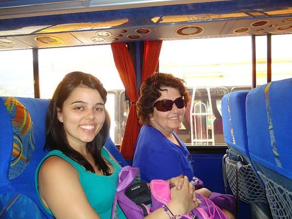 Two women on the bus in Ecuador.