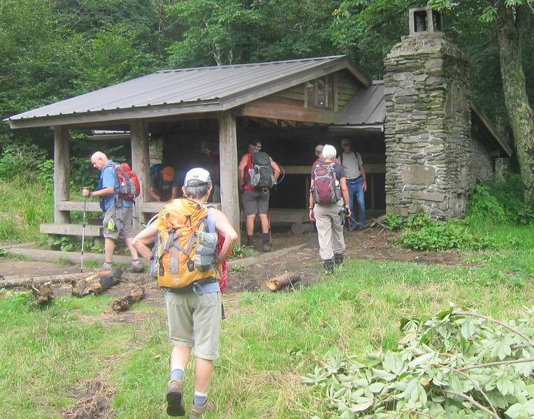 Arriving at Double Springs Gap Shelter