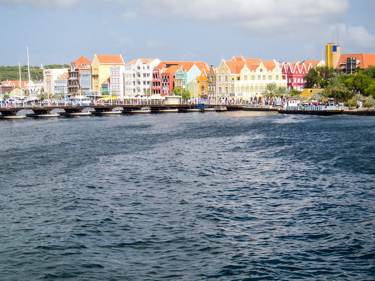 View of Willemstad, Curaçao with Pontoon Bridge - February 2013