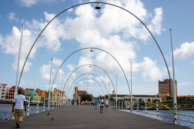 Walking across Queen Emma Pontoon Bridge in Willemstad, Curaçao - February 2013