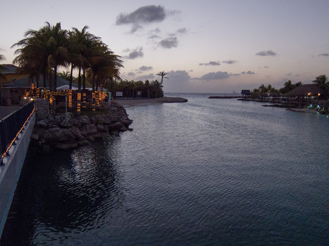 Augusto's Restaurant (left), Lions Dive & Beach Resort Curaçao (right) at Dusk - February 2013