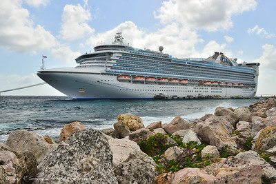 Caribbean Princess moored at Curacao.