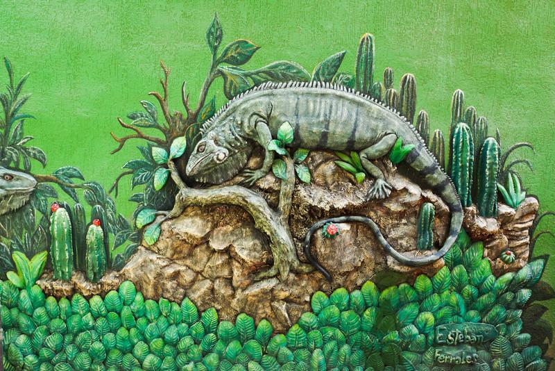 3-D Iguana Mural by Esteban Ferrales