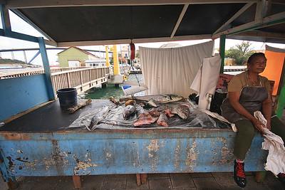 De vismarkt aan de Sha Caprileskade, Willemstad, Curaçao.