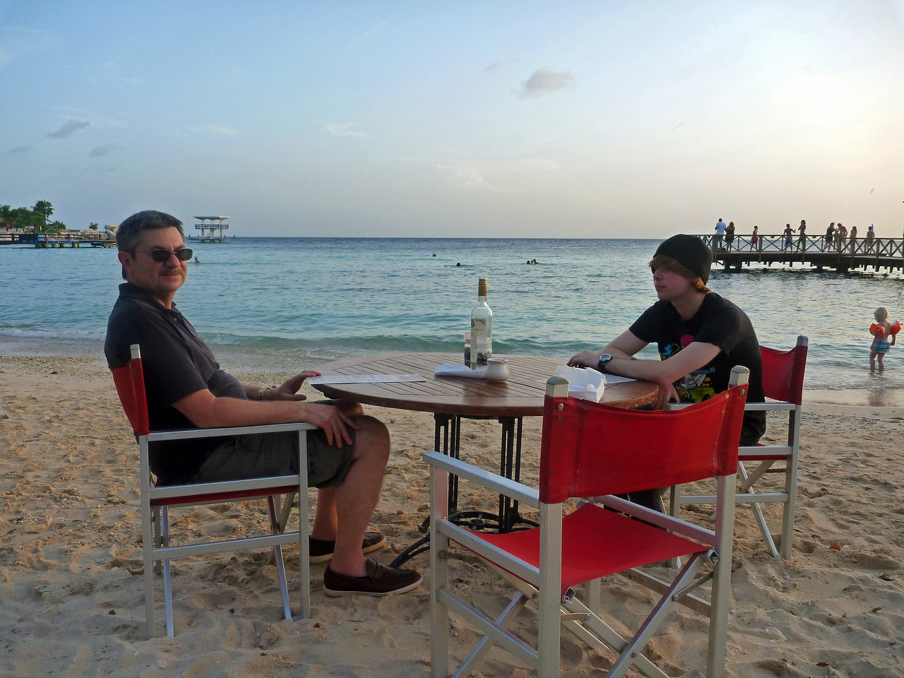 Dining on the beach in Curacao