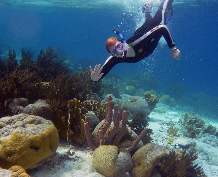 Nancy skin diving off Klein Bonaire island