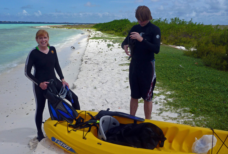 Mike and Nancy on Klein Bonaire. Took kayak from Harbor Village hotel to Klein Bonaire beach to skin dive