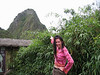 """Melissa says """"Yes, I climbed all the way up to th top of WaynaPicchu!"""" It was a steep trail."""