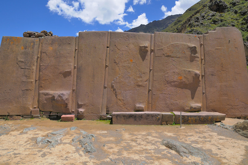 A major wall of the temple.  These reddish rocks are not local and had to be brought here.