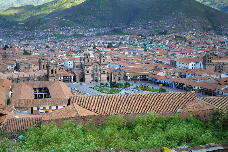 Overview of Cusco's old town from San Christobal