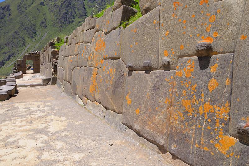 A doorway along a terrace wall