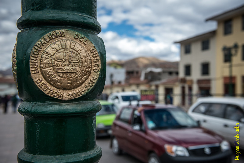 Detail of a lamppost along one of the main avenues, Avenida El Sol - Cusco - Peru
