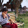 Teenager with puppies - Plaza de las Nazarenas - Cusco - Peru