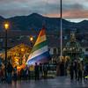 La Plaza de Armas de Cusco con el belen/nacimiento durante las fiestas de fin de año 2014