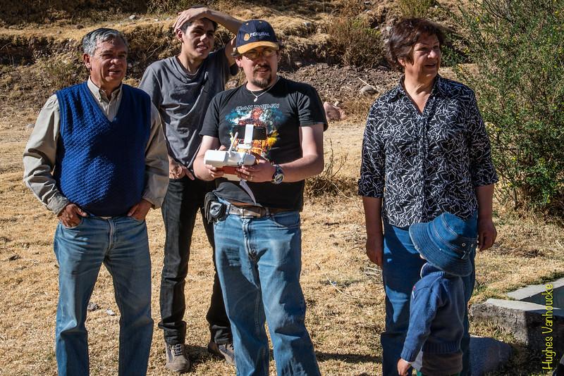 Don Alejandrino Lozano-Álvarez, Alejandro Rojas Santander, Luis Figueroa Lozano-Álvarez & Doña Lourdes Martorell con el drone DGI Phantom 2 Vision Plus
