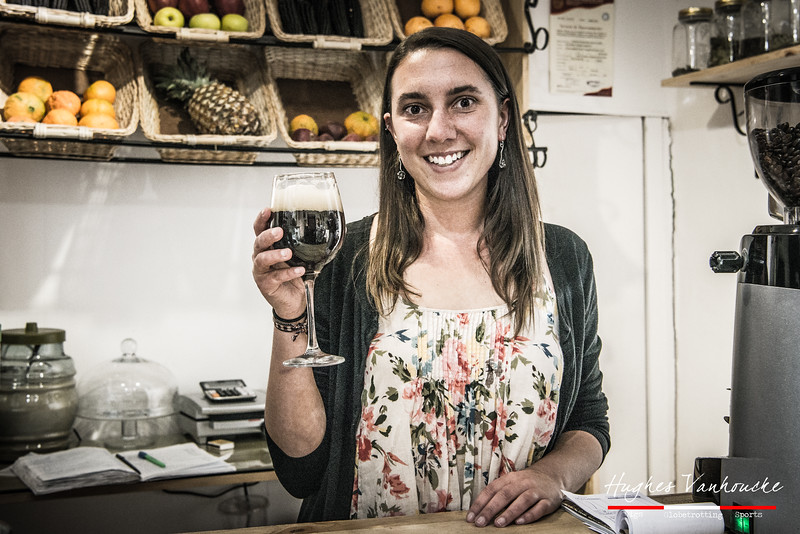 Katie Tyson tasting the assumably best beer in the world, the Westvleteren 12 - Eusebio & Manolo Coffee Shop - C/. Carmen Alto 116 - San Blas - Cusco - Perú