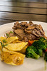 Lomo con champiñones en salsa de lomo saltadao con papas fritas & vegetales salteados (33 S/.) - Tika Bistro Gourmet - C/. Tocuyeros - San Blas - Cusco<br /> <br /> Grilled tenderloin with mushrooms in a lomo saltado reduction with potato chips and sautéed vegetables (33 S/.) - Tika Bistro Gourmet - C/. Tocuyeros - San Blas - Cusco<br /> <br /> Lendestuk met champignons in een lomo saltado reductie met frietjes en gebakken groeten (33 S/.) - Tika Bistro Gourmet - C/. Tocuyeros - San Blas - Cusco<br /> <br /> Aloyau aux champignons dans une sauce de lomo saltado garni de frites et légumes sautés (33 S/.) - Tika Bistro Gourmet - C/. Tocuyeros - San Blas - Cusco