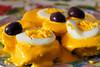 Papa a la huancaína (papas sancochadas frías con salsa de ají amarillo con leche, aceite y queso fresco) - Casa de doña Rosalvina - Urb. Quispicanchis - Cusco - Perú<br /> <br /> Papa a la huancaína (cooked cold potatoes with yellow pepper, milk, oil and fresh cheese) - House of doña Rosalvina - Urb. Quispicanchis - Cusco - Peru<br /> <br /> Papa a la huancaína (koude gekookte aardappelen in een sausje van gele pepers, melk, olie en verse kaas) - Huis van doña Rosalvina - Urb. Quispicanchis - Cusco - Peru<br /> <br /> Papa a la huancaína (pommes de terres cuites froides dans une sauce de poivrons jaunes, lait, huile et fromage grais) - Maison de doña Rosalvina - Urb. Quispicanchis - Cusco - Pérou